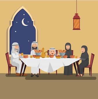 Ilustración de familia árabe disfrutando de iftar