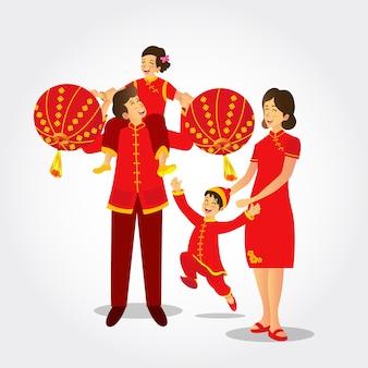 Ilustración de una familia china vestida con trajes nacionales jugando linternas chinas celebrando el año nuevo chino