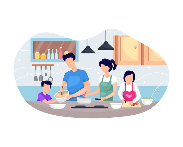 Ilustración familia cocinando juntos