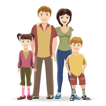 Ilustración de la familia de cuatro miembros posando juntos sonriendo feliz.