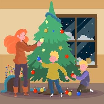 Ilustración de familia decorando el árbol de navidad