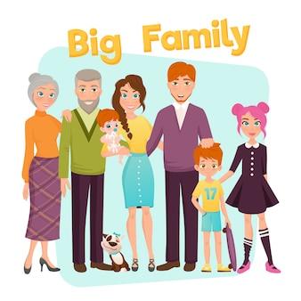 Ilustración de familia feliz grande