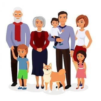 Ilustración de familia feliz. padre, madre, abuelo, abuela, hijos y perro en un estilo de dibujos animados.
