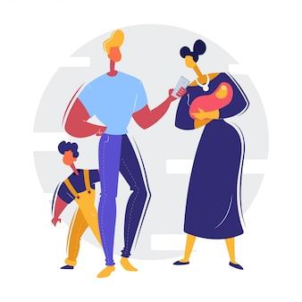 Ilustración de familia feliz / seguro de vida y salud
