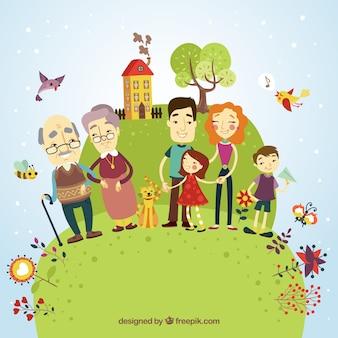 Ilustración familia feliz