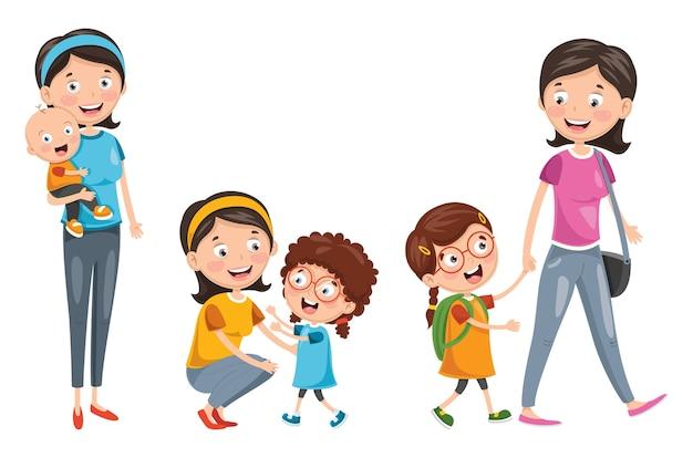 Ilustración de la familia feliz