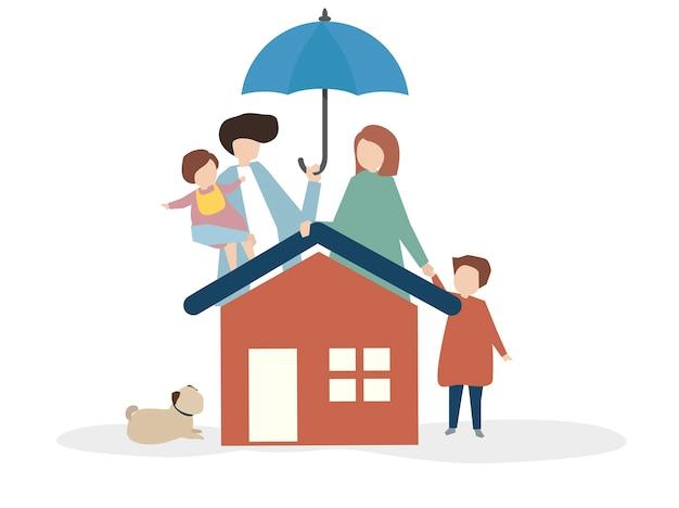 Ilustración de una familia feliz