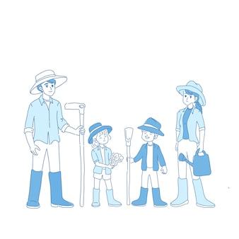 Ilustración de la familia del granjero