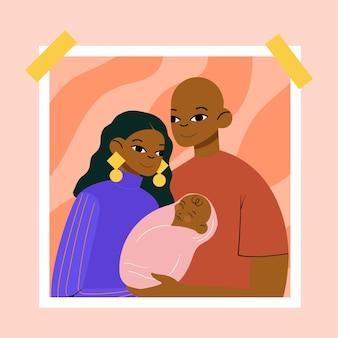 Ilustración de familia negra dibujada a mano plana con un bebé