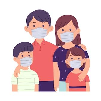 Ilustración de una familia, padre, madre y dos niños con mascarillas