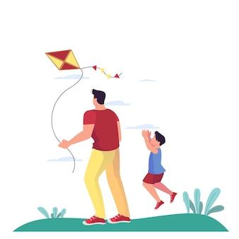 Ilustración de familia pasando su tiempo en el parque. padre e hijo jugando con cometa al aire libre. familia divirtiéndose en el parque. actividades al aire libre.