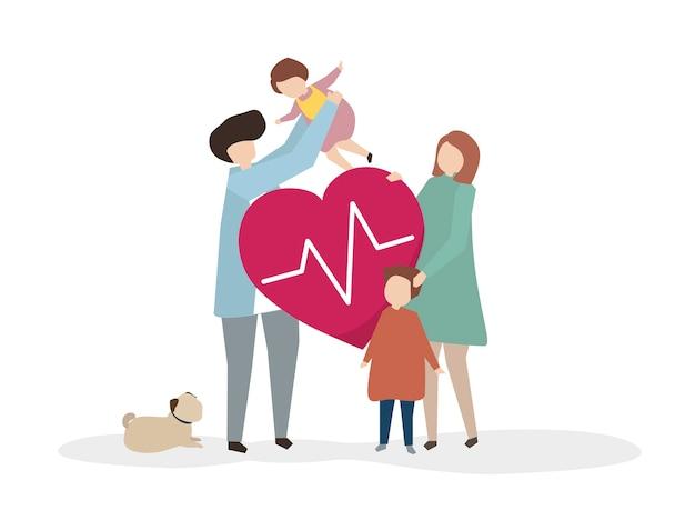 Ilustración de una familia sana feliz