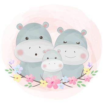 Ilustración familiar de acuarela hipopótamo