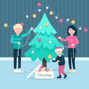 Ilustración familiar de navidad en diseño plano