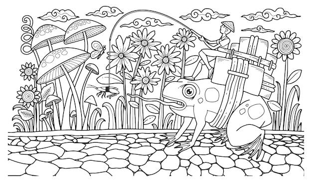 Ilustración de fantasía para colorear página adulto