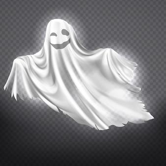 Ilustración de fantasma blanco, sonriente silueta fantasma aislado sobre fondo transparente.