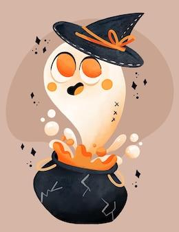 Ilustración de fantasma de halloween en acuarela