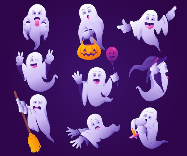 Ilustración de fantasmas de halloween degradado