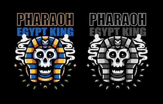 Ilustración del faraón rey de egipto con cabeza de calavera