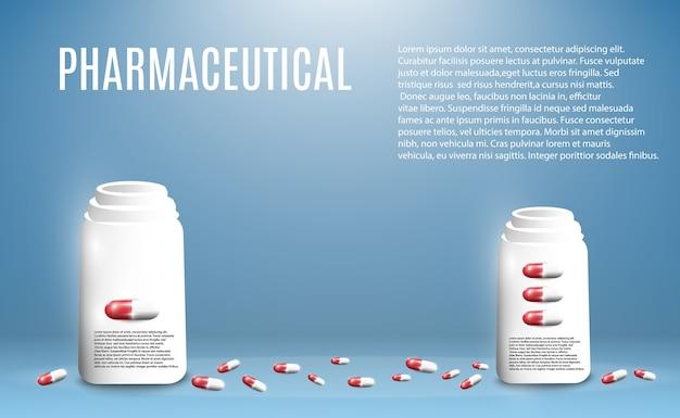 Ilustración farmacéutica de píldoras volando de una botella sobre un fondo transparente.