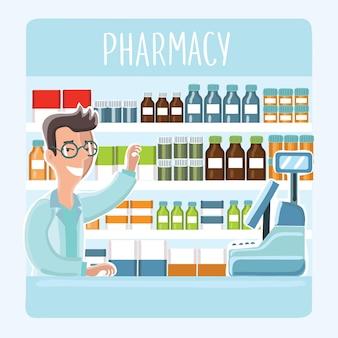 Ilustración del farmacéutico de dibujos animados en vasos detrás del mostrador en la farmacia en el fondo de los estantes con medicamentos