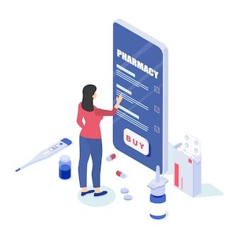 Ilustración de una farmacia en línea