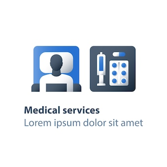 Ilustración de farmacia y medicina.