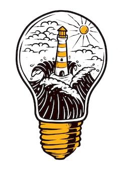 Ilustración de faro y lámpara