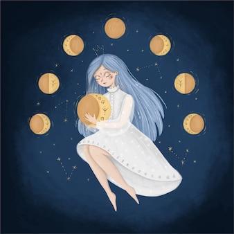Ilustración de fase de luna de dibujos animados lindo. una mujer en el cielo sostiene la luna. ilustración de un ciclo menstrual femenino. ilustración de cuento de hadas