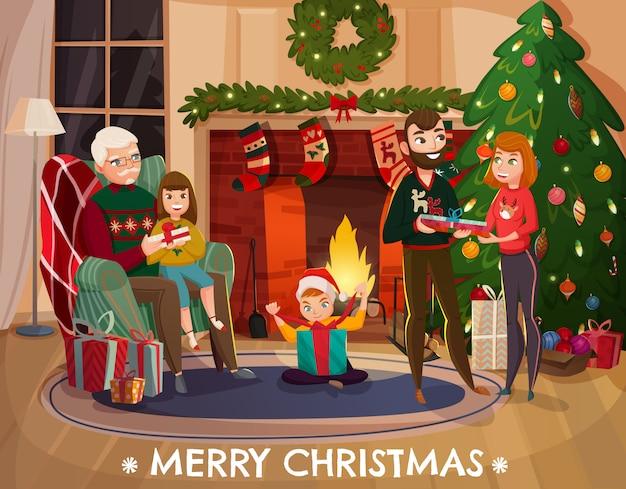 Ilustración de felicitación familiar de navidad