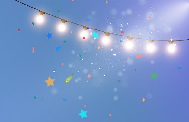 Ilustración de felicitación con muchas partículas que caen y guirnaldas.