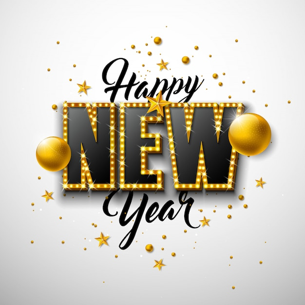 Ilustración de feliz año nuevo 2020 con letras de tipografía 3d y bola de navidad sobre fondo blanco.