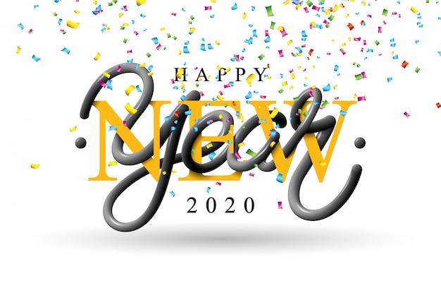 Ilustración de feliz año nuevo 2020 con letras de tipografía 3d y confeti cayendo sobre fondo blanco