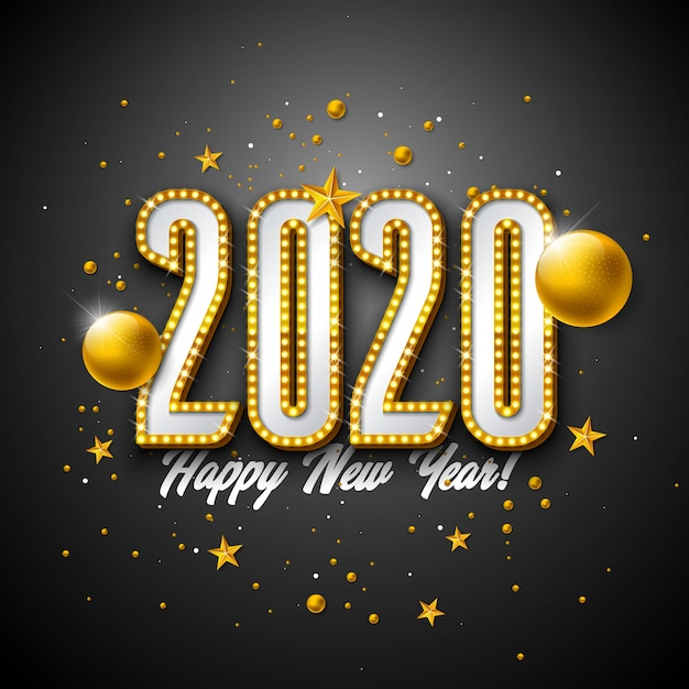 Ilustración de feliz año nuevo 2020 con letras de tipografía de bombilla 3d y bola de navidad sobre fondo negro.