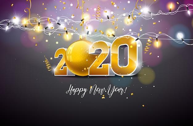 Ilustración de feliz año nuevo 2020 con número de oro 3d, bola de navidad y guirnalda de luces sobre fondo oscuro.