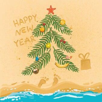 Ilustración feliz año nuevo en la playa de frutas de palma