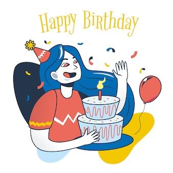 Ilustración de feliz cumpleaños con mujer y pastel