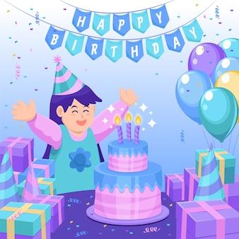 Ilustración de feliz cumpleaños con niña y pastel