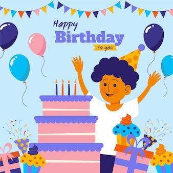 Ilustración de feliz cumpleaños con niño y pastel