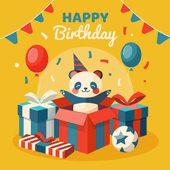 Ilustración de feliz cumpleaños con oso