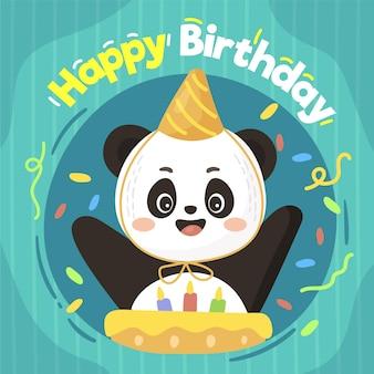 Ilustración de feliz cumpleaños con panda y pastel