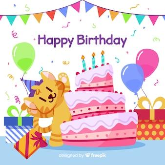 Ilustración de feliz cumpleaños con pastel y globos