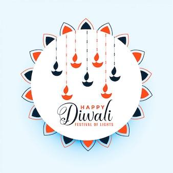 Ilustración feliz de la decoración de la lámpara de diwali diya