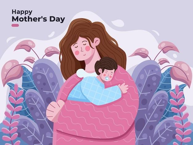 Ilustración de feliz día de las madres con mamá abraza a su hijo