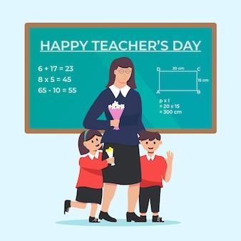 Ilustración de feliz día del maestro de diseño plano