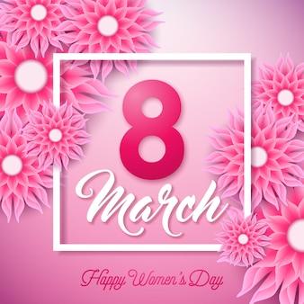 Ilustración feliz día de la mujer con flor abstracta y 8 de marzo letra de tipografía