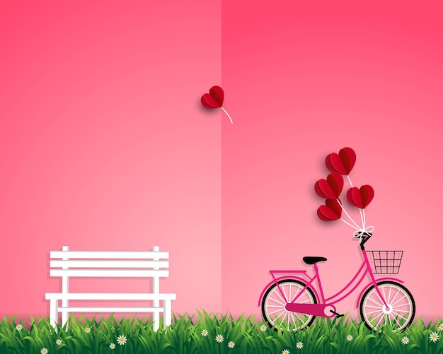 Ilustración de feliz día de san valentín con globos rojos volando sobre el jardín