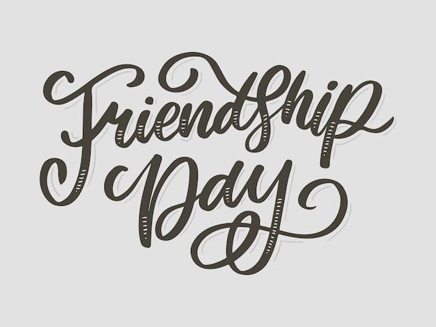 Ilustración de la feliz felicitación del día de la amistad dibujada a mano en estilo de moda con letras de texto y triángulo de color para efecto grunge sobre fondo blanco