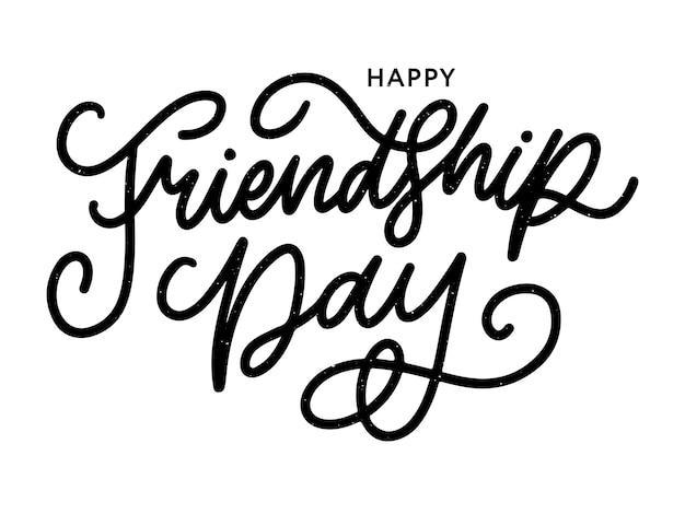 Ilustración de la feliz felicitación del día de la amistad dibujada a mano en estilo de moda con letras de texto y triángulo de color para efecto grunge sobre fondo blanco.