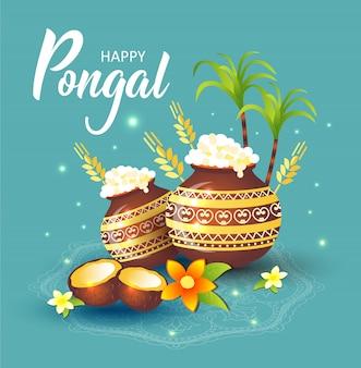 Ilustración del feliz festival de la cosecha de pongal en tamil nadu, en el sur de la india.